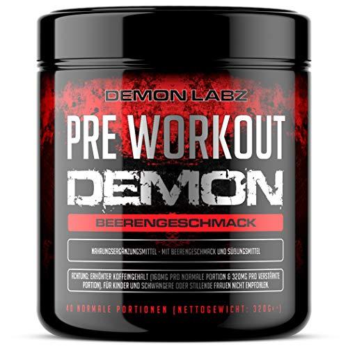 Pre Workout Demon - Pre Workout Booster mit Vitamin B12 was zur Verringerung von Müdigkeit & Ermüdung beiträgt - Mit Koffein, Beta Alanin und Glutamin (Beerengeschmack - 320g - 40 Portionen)