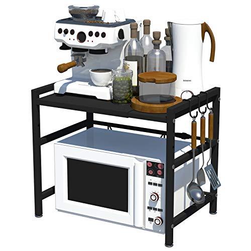 Soporte Extensible para Microondas, Estante Estantería Horno, Estante de cocina para microondas, Soportes Organizador Multiuso Especia, Gabinete Contador Estantes Metálico Marco