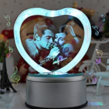 LIWUYOU Personalized Custom Photo and Text Colorful Romantic Crystal Music Box, Engrave You're My only Love, Heart Couple, Bluetooth Base