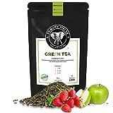 Edward Fields Tea ® - Té verde orgánico a granel con Fresa y Manzana. Té bio recolectado a mano con ingredientes y aromas naturales, 100 gramos, China.