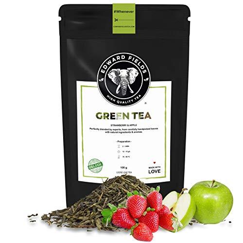 Edward Fields Tea ® - Té verde orgánico a granel con Fresa y Manzana. Té bio recolectado a mano con ingredientes y aromas naturales, 100 gramos, China