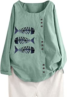 Holzkary Women's Casual Print Fake Button Down Shirt Plus Size Long Sleeve O-Neck Pullover Tops Blouse