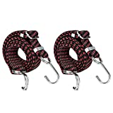 SDTC Tech 40 Inch Adjustable Flat Bungee Cords with Hooks   2-Pack Superior Latex Heavy Duty Straps with Length Adjustment Metal Buckle Luggage Elastic Rope for Cargo/Camping/RV/Hand Carts etc.