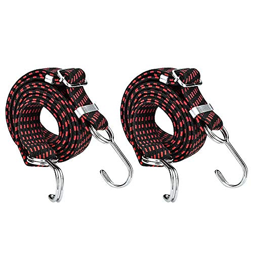 SDTC Tech 80 Inch Adjustable Flat Bungee Cords with Hooks   2-Pack Superior Latex Heavy Duty Straps with Length Adjustment Metal Buckle Luggage Elastic Rope for Cargo/Camping/RV/Hand Carts etc.