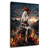 WODEFAKE Game of Thrones Daenerys Targaryen Poster Painting Canvas for Living Room Art Print Decor for Wall Pictures for Bathroom Paintings for Bedroom Decorative Artwork Hallway Decorations for Home (24x36inch(60x90cm),Unframed)