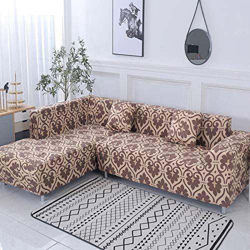 ASCV Funda de sofá Funda de sofá elástica Funda de sofá para Sala de Estar en Forma de L esquinero Chaise Longue Funda de sofá A4 3 plazas
