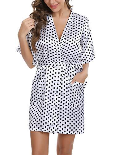Doaraha Batas Kimono Mujer Satén Albornoces Pijama Lenceria Vestido Ligero Estampado de Lunares Ropa de Dormir Oblicuo Cuello en V Suave (Blanco, XL)