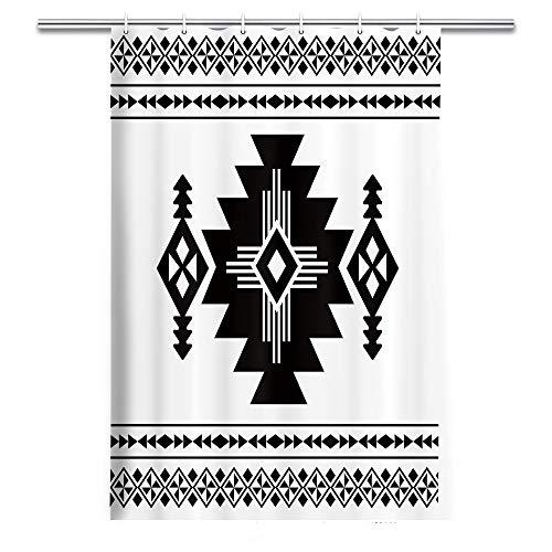 Rustic Black White Fabric Stall Shower Curtain 36X72 Inch, Western Retro Tribal Primitive Geometric Pattern Art, Chic Boho Bathroom Decor Cloth Shower Stall Curtain Set with 6 Rustproof Grommet Holes