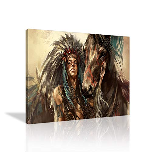 VIIVEI Native American Canvas Wall Art Feathered Headdress Women with Horse Prints Image Retro Picture Wall Decoration Indian Girl Artwork for Living Room Bedroom Office Frame Ready to Hang