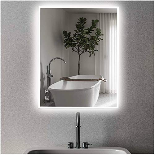 Bathroom LED Mirror 32x24 ISTRIPMF Lighted Vanity Makeup Mirror with Light with Anti-Fog Function Wall Mounted Adjustable White/ Warm Light Thickness