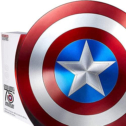 MOMAMOM Avengers Réplica de Marvel Escudo Capitan America 60Cm Edición 75 Aniversario,1:1 Accesorios de Disfraces Retro de Halloween para Adultos Accesorios Bar Escudo Decoraciones para Colgar