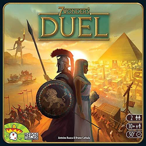 WOGQX 7 Wonders Duel Brettspiel-Bundle, Kartenspiel, Brettspiel, 2-Spieler-Strategiekampf Mit 80 Schutzkartenhüllen (10+)