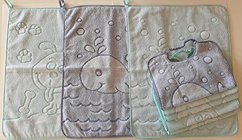 Set 5 bavaglie bavaglini + 3 salviette asciugamani jacquard con elastico bambino 5 bavaglie colori blu azzurro giallo rosso set asilo nido scuola materna cotone Prodotto italiano