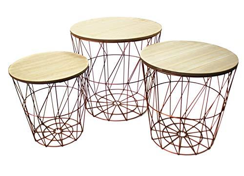 Bada Bing 3er Set Metall Korb Kupfer Optik Beistelltisch Metallkorb Couchtisch Kaffeetisch Wohnzimmertisch Modern Rund Holz Design Tisch 3...
