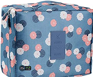 HiDay Cosmetic Makeup Bag Travel Toiletry Organizer, Blue Flower