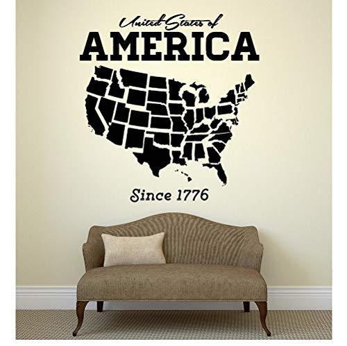 Vereinigten Staaten Usa Karte Wandaufkleber Ausgangsdekor Wohnzimmer Selbstklebende Pvc Wandtattoo Amerika Schlafsofa Hintergrund Schmücken 57 * 60 Cm
