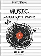 Blank Sheet Music Notebook: Wide Staff Manuscript Paper Notebook For Musicians: 6 Large Staves Per Page (8.5