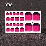 盛世汇众 1 hoja 22 puntas cubierta completa purpurina Gradienteでuñas・デ・ロス・パイpegatinasパラuñasDIYuñasアルテpuntas色ピューロラミナadhesivas envolturas manicura (色 : JY38 toenails)
