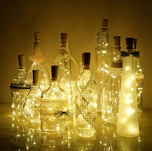 Wine Bottle Lights with Cork Decorman 12 Pcs 15 LEDs Cork Shape Silver Copper Wire Battery Powered LED Fairy String Lights for DIY/Decor/Party/Wedding/Christmas/Halloween