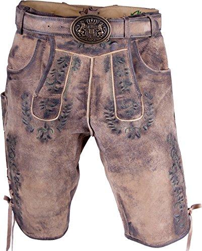 Almwerk Herren Trachten Lederhose kurz Hellbraun Modell Max mit grünem Stick, Größe Herren:44 - XS - Bundweite 74-77 cm