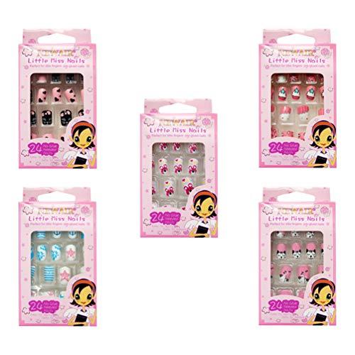 Minkissy Kunstnägel für Kinder, Cartoon-Motiv, kurz, vollständige Abdeckung, 120 Stück, Weihnachtsgeschenk, Geschenk für Mädchen (zufälliger Stil)