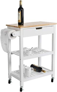 LUCKWIND Island Cart Serving Wheel – Home Kitchen Dining Bar Rolling Shelf Storage Cabinet Wood Rack Drawer Counter Break Tow