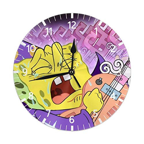gdingxiantengsubaihuoshang Spongebob Schwammkopf Mute Non Tick Wanduhren, geeignet SOR Wohnzimmer, Küche, Schlafzimmer, dekorieren Wanduhr, arabische Ziffer 9,84 Zoll PVC Wanduhr