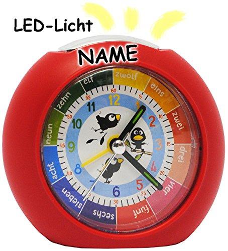alles-meine.de GmbH LED Licht - Kinderwecker - Analog -  lustige Vögel - rot  - incl. Name - Lernwecker - + -1 Minuten Schritten Anzeiger - Lernzifferblatt - für Kinder / große..
