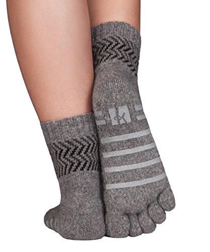 Knitido ABS Haussocken Home Merino Kaschmir, nahtlose Zehensocken ohne Gummiband, Größe:39-42, Farbe:hellgrau/schwarz (103)