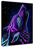 HVEST Lonely Wolf Wall Art for Home Bathroom Decor, Purple Blue Wolves in a Psychedelic Starry Canvas Abstract Painting for Bedroom Living Room Moden Artwork,12x16Inchs Ready to Hanging
