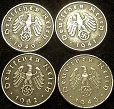 Four World War II German 10 Reichspfennig Coin Collection - 1940A, 1941A, 1942A &1943A