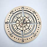 7ArtsStudio Compass Wall Clock Made of Wood - Perfect and Beautifully Cut - Decorate Your Home with Modern Art - Unique Gift for Him and Her - Size 12 Inches