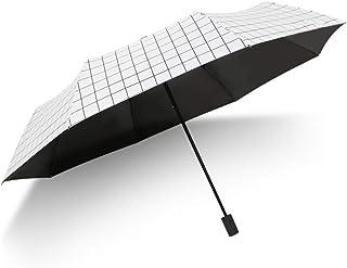 xinrongqu Pequeño Enrejado Fresco Creativo plástico Negro Protector Solar UV Hombres y Mujeres Paraguas sombrilla sombrilla