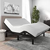 SHA CERLIN Adjustable Bed Base Frame / King Size Bed Base with Adjustable Head and Foot / Wireless Remote Control / Wood Board Support with Fabric Cloth Cover (King, Base Only)