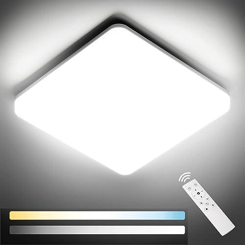 NIXIUKOL Plafonnier Led 24W, Luminaire Plafonnier avec télécommande, couleur de lumière et luminosité dimmable, IP54 ...