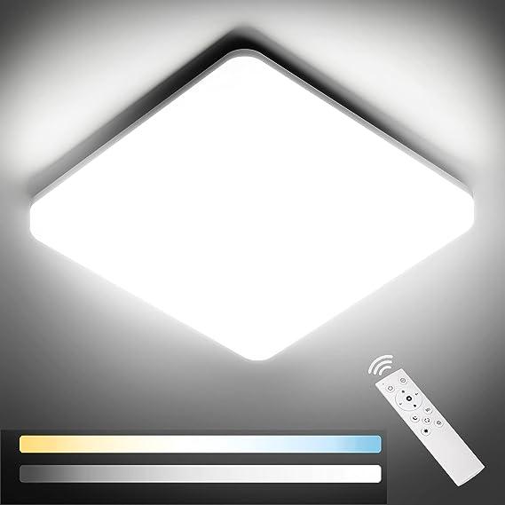 NIXIUKOL Plafon LED Techo Regulable 24W con Mando a Distáncia, Lámpara de Techo Temperatura Regulable(3000K-6500K), IP54 Impermeable Lampara Techo Luz para Baño, Salón, Dormitorio, Cocina 28cm