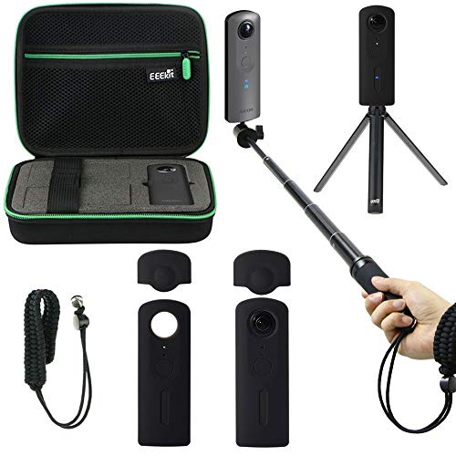 EEEKit Shockproof Protective Carrying Case, Selfie Stick Monopod, Mini Tripod Stand, Soft Silicone Skin, Wrist Strap for Theta V 360 Camera, All in One Accessory Kit