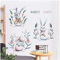 UYEDSRウォールステッカー素敵なウサギの壁のステッカーリビングルームの装飾キッズルームの装飾赤ちゃんの寝室のウォールステッカー漫画のポスター動物のコーナー60x90cm