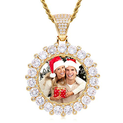 Personalized Medal Necklace Customized Photo Necklace Twist Necklace Round Pendant Necklace Hip Hop Necklace(Gold Plated 14)