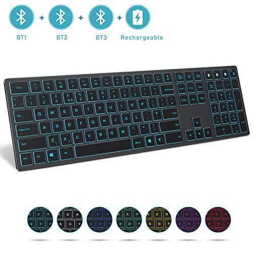Jelly Comb Kabellose Bluetooth-Tastatur, 1 bis 3 Geräte, Hintergrundbeleuchtung, QWERTY UK-Layout für Laptop/Computer/Fenster, Space Grey