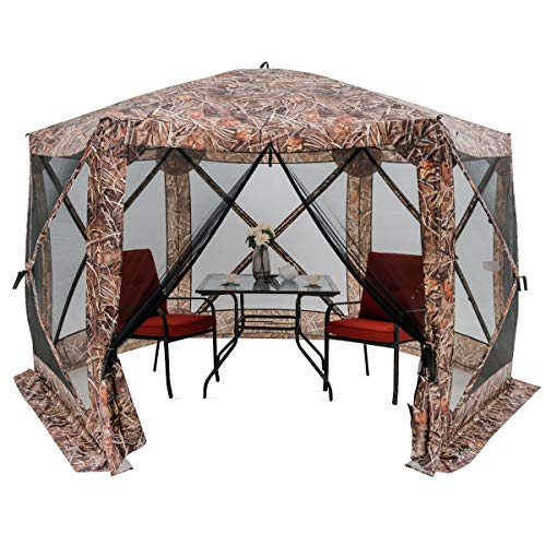 "HAPPYGRILL 140""x 140"" Outdoor Patio Canopy Portable Pop up Gazebo, Large Screen Tent Bug & Rain Protection, Camouflage"