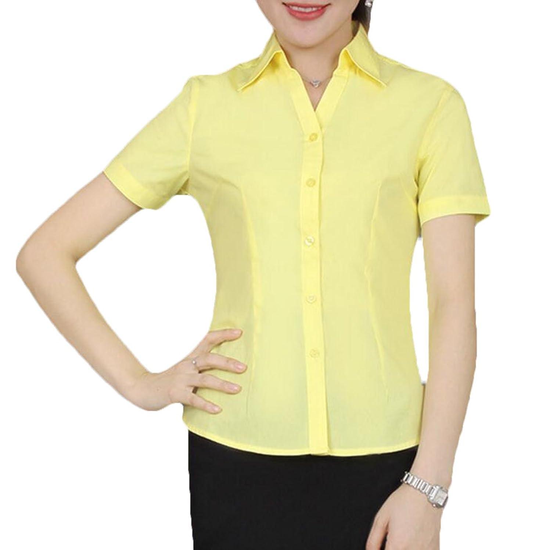 FRPE 婦人用テーラードショートスリーブの基本的な古典的なフィットワークボタンダウンシャツ