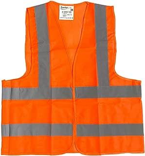 BRUFER 60136 High Visibility Reflective Safety Vest (1, Orange Medium)
