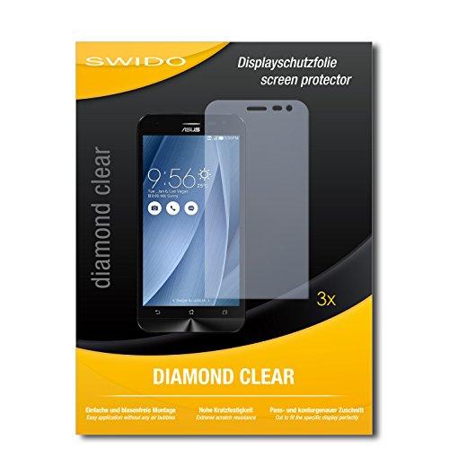 SWIDO 3 x Schutzfolie Asus ZenFone 2 Laser Bildschirmschutz Folie DiamondClear unsichtbar