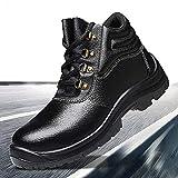 Zapatos con Punta de Acero Botas Hombres Entrenador de Trabajo de Seguridad antipinchazos Zapatos de Seguridad antiestáticos desodorantes de Aislamiento de Piel de Vaca Transpirables Ligeros,Negro,38