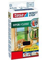 tesa Insect Stop Comfort Open/Close Vliegenhor - Rolhor - Raamhor met klittenband - Speciaal oprolsysteem, snij op maat - Muggenhor, antraciet, 130 cm x 150 cm