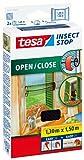 tesa Insect Stop COMFORT Open / Close Fliegengitter Fenster zum Öffnen & Schließen - Insektenschutz Rollo selbstklebend - Anthrazit, 130 cm x 150 cm