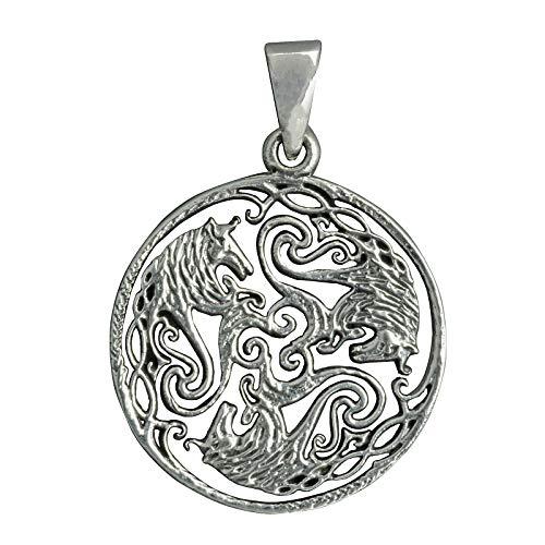 Colgante de tres caballos Celtic trenzado con nudo de filigrana Triskelle Norse, 6 g, plata de ley Beldiamo