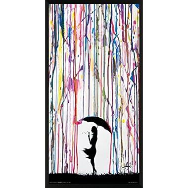 Marc Allante Girl Blowing Dandelion Under Umbrella Paint Rain Modern Contemporary Decorative Art Print (Framed 12x24 Poster)