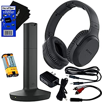 Sony Bluetooth Wireless Over Ear for TV Watching Wireless Noise Canceling Headphones  WHRF400R  Includes Transmitter Dock  TMRRF400  Rechargeable Battery Connecting Cables AC Adaptor Cleaning Cloth
